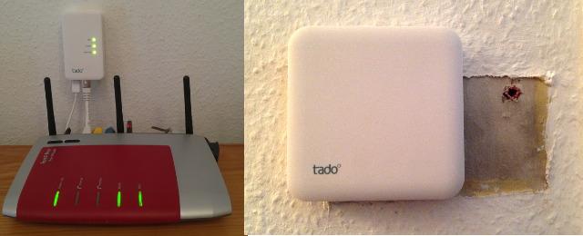 Kleine Box an den Router anschließen, große Box gegen den Raumthermostat austauschen
