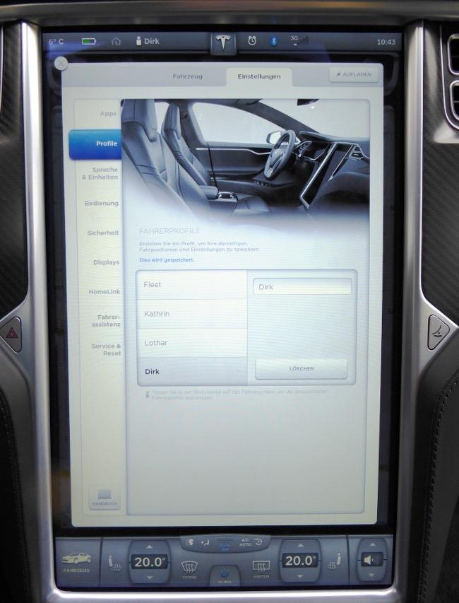 Tesla S Sitzposition speichern