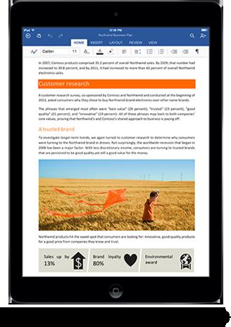 Word-App von Microsoft Office für das iPad